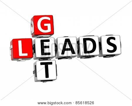 3D Crossword Get Leads On White Background