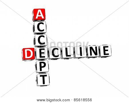 3D Crossword Accept Decline On White Background