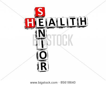 3D Crossword Senior Health On White Background