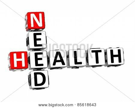 3D Crossword Need Health On White Background