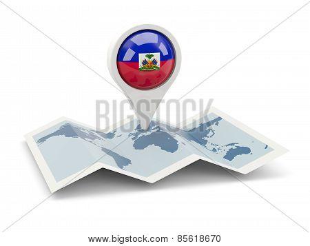 Round Pin With Flag Of Haiti