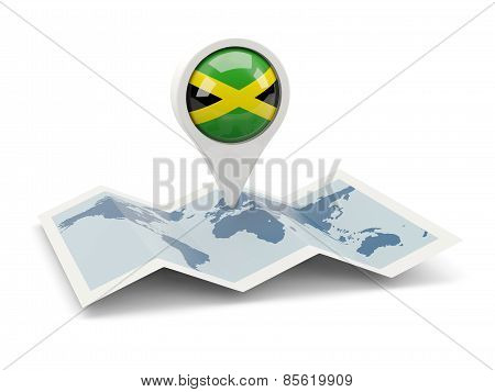 Round Pin With Flag Of Jamaica