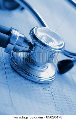Ecg And Stethoscope Concept Diagnostic