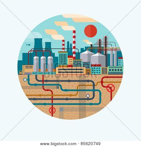 Vector concept illustration of nature pollution