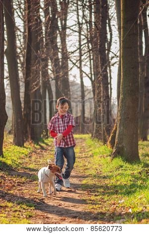 boy and dog walking in park