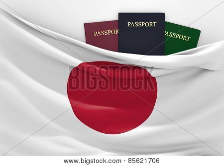 Travel and tourism in Japan, with assorted passports