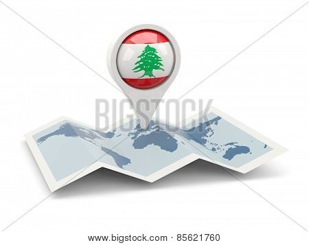 Round Pin With Flag Of Lebanon