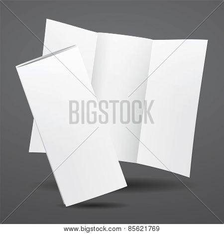 Blank Vector White Tri Fold Brochure Template.