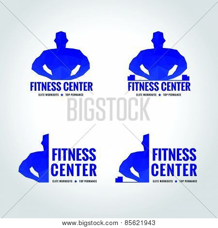 fitness center sport blue tone logo low poly is Muscular men lifting weights