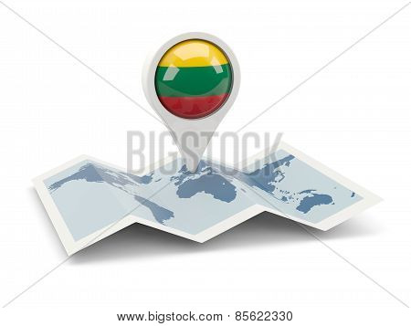 Round Pin With Flag Of Lithuania