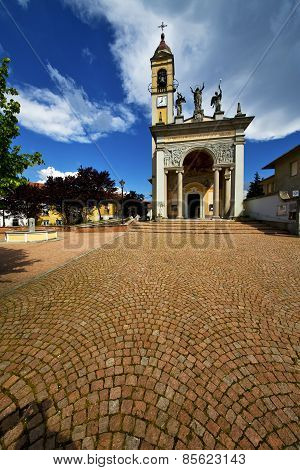 Italy   Cairate Varese  The Old Wall Terrace Church Watch Bell Clock Tower