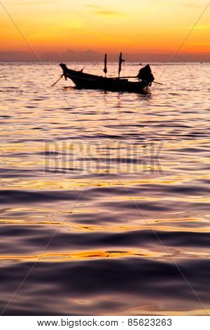 Sunrise Boat  And Sea In  China Sea