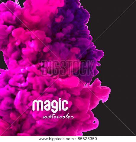 Magic watercolor swirling ink in water