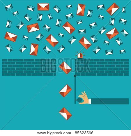 Anti Spam Filter Vector Concept In Flat Style