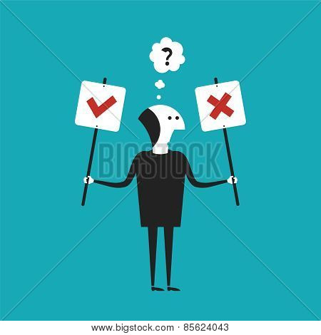 Yes Or No Vector Concept In Flat Cartoon Style