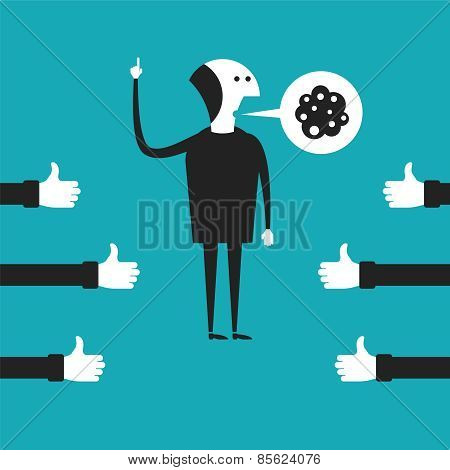 Oratory Vector Concept In Flat Cartoon Style