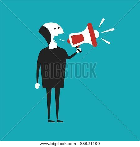 Businessman Shouting In Megaphone Vector Concept In Flat Cartoon Style