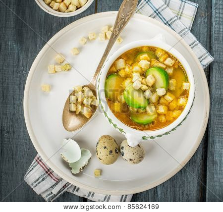 Homemade vegetable soup with brussels sprouts and croutons