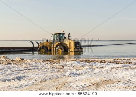 Tractor In Sea