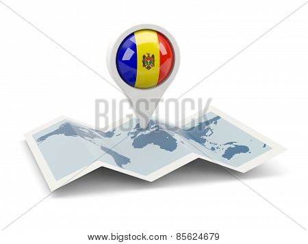 Round Pin With Flag Of Moldova