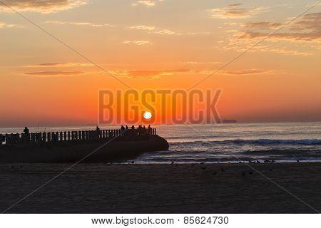 Fishermen Sunrise Ocean Jetty
