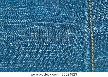 Texture Of Denim With Thread Line