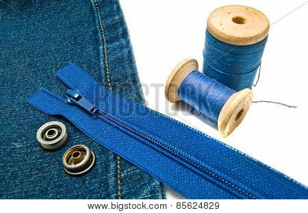 Denim With Blue Zipper And Buttons