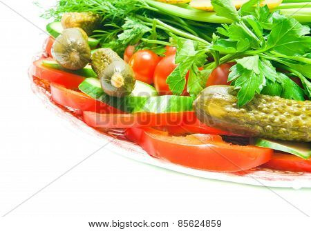 Different Vegetables On Plate