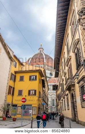 Street View With Famous Cathedral In Florence, Italy