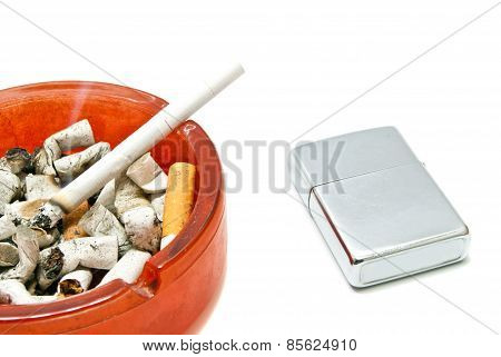 Metal Lighter And Cigarette