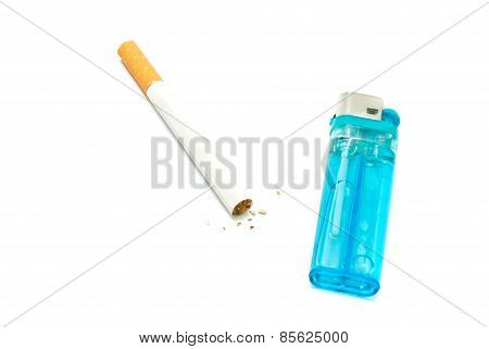 Lighter And One Cigarette On White
