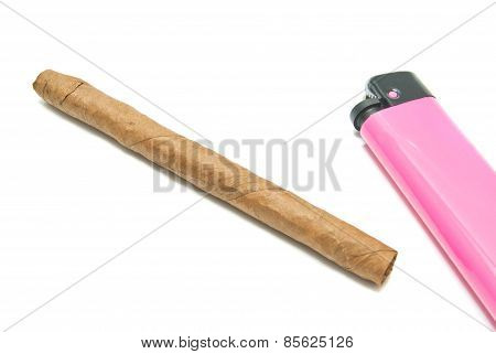Cigar And Plastic Lighter