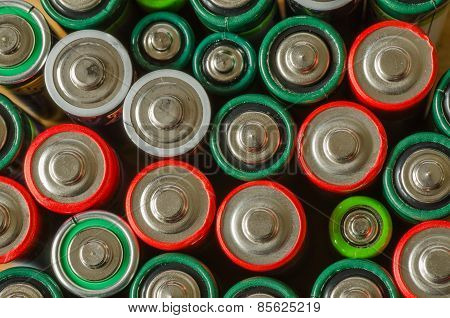 Collection of old batteries