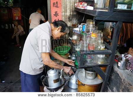 Asian Man, Coffee Shop, Private Business