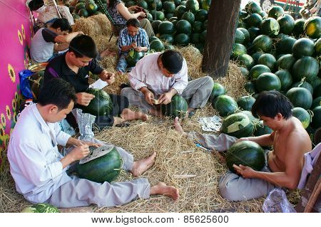 Asian Man, Farmer Market, Engraving  Watermelon