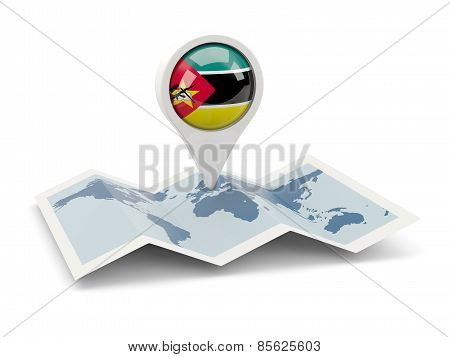 Round Pin With Flag Of Mozambique