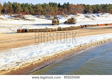 Sea Dredging Work Carried Out In Winter