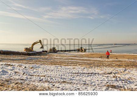 Excavator In Sea