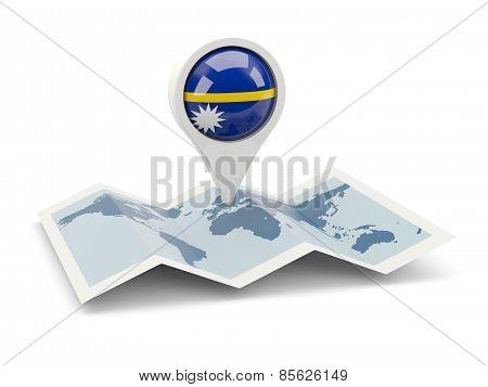 Round Pin With Flag Of Nauru