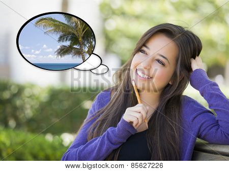 Pensive Woman with Tropical Beach and Palm Tree Inside Thought Bubble.