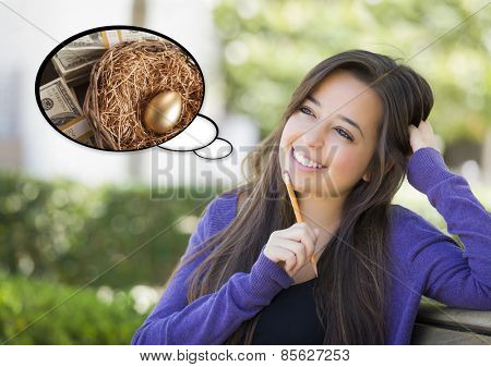 Pensive Woman with Money and Golden Nest Egg Inside Thought Bubble.