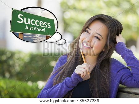 Pensive Young Woman with Thought Bubble of Success Just Ahead Green Road Sign.