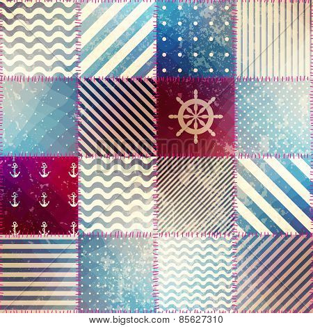 The patchwork in nautical style.