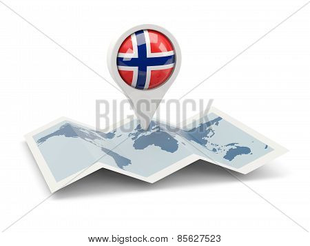 Round Pin With Flag Of Norway