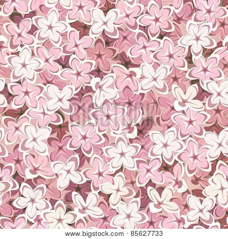 Seamless background with pink lilac flowers. Vector illustration.