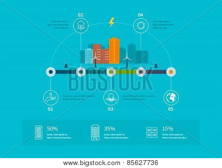 Ecology illustration infographic elements flat design. City landscape. Environmentally friendly hous