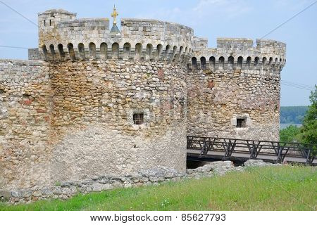 double round towers of Zindan Gate in Kalemegdan Fortress, Belgrade