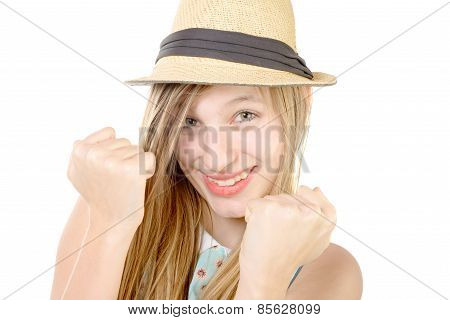 Smiling Teenager Showing Fists