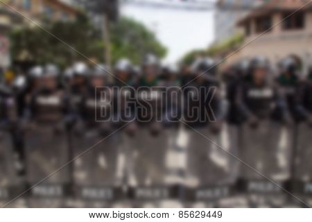 Blurred Background With Guard Protect