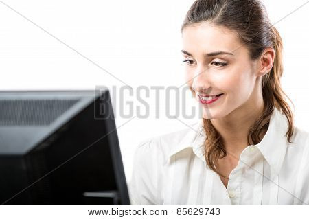 Pretty Woman Working On Computer